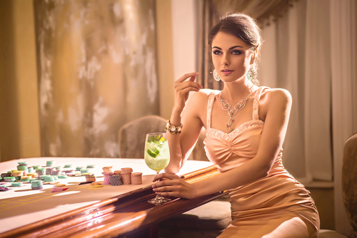 Girl sitting in casino