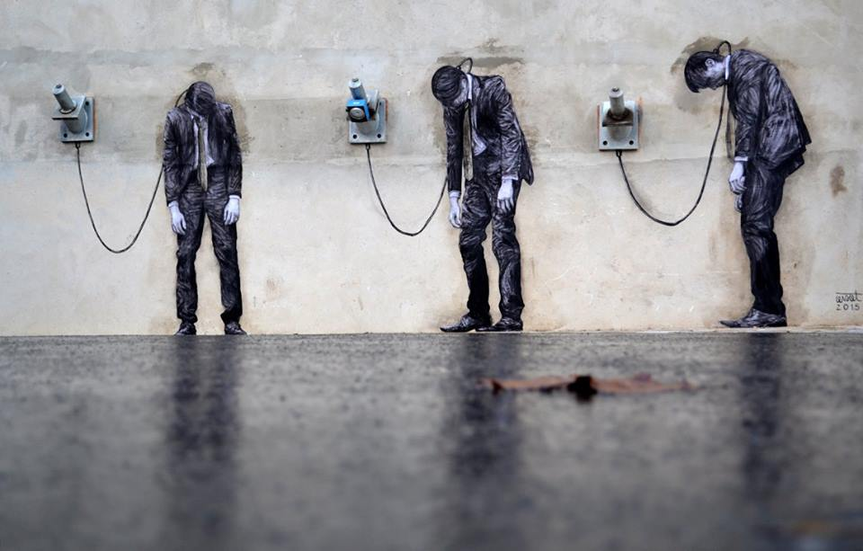 1.Three Men bound by electric cords